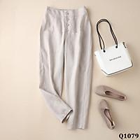 quần baggy nữ lưng chun 4 khuy 2 túi trước chất đũi