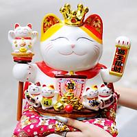 Mèo Thần tài Vương miện Vẫy tay 27cm Mã 3111 - Thuyền Tài lộc