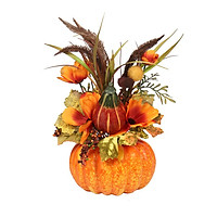 Mini Artificial Pumpkins Maple Leaves Decoration for Halloween Party