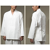 Bộ quần áo nam đi lễ chùa, ngồi thiền và yoga Thiền Chay cổ chéo màu trắng