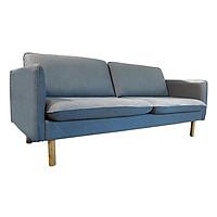 Sofa 3S JYSK Nid-002 vải polyester ghi đậm/chân gỗ sồi