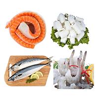 Combo 28: 1 kg Lườn cá hồi Nauy 5 + 1 kg Mực cắt hoa + 1kg Cá saba Nhật + 1kg Tôm thẻ lột vỏ còn đuôi