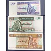 Set tiền xưa Myanmar 10 20 50 Kyats sưu tầm hình con lân , tiền Đông Nam Á , Mới 100% UNC