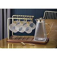 Bộ bình nước thủy tinh kèm 6 cốc quai vàng crystan chịu nhiệt cao cấp - ANTH474