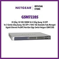 Thiết Bị Chia Mạng Gắn Rack 24 Cổng 10/100/1000M Với 4 Cổng Quang 1G SFP Và 2 Combo Cổng Quang 10G SFP+/ RJ45 10G Stackable Fully Managed Gigabit Ethernet ProSAFE Next-Gen Edge Switch Netgear GSM7228S - Hàng Chính Hãng