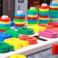 Bảng chữ cái và số cho bé kèm hình khối cột tính bậc thang, đồ chơi học tập, bảng ghép hình bằng gỗ thuộc giáo cụ Montessori giúp phát triển trí tuệ và kỹ năng cho trẻ – Tặng Kèm Móc Khóa.