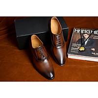 Giày tây nam công sở cao cấp Udany - GBD16 - Giày tây da bò màu nâu đẳng cấp sang trọng