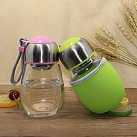 Combo 2 bình đựng nước Mini thủy tinh hình bầu có ngăn lọc xác trà 300ml