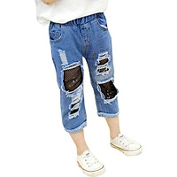 Newborn Girls  Kids Casual Ripped Short Pants Trousers Baby Denim Stretch Jeans Baby Children Clothing 2-13T