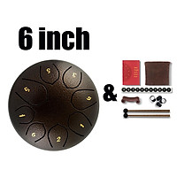 6inch Steel Tongue Drum 8 Notes Hand Pan Drum with Accessory Deep Brown