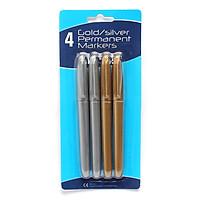 Bộ 4 cây bút lông dầu màu vàng và màu bạc
