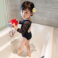 Áo Tắm Bé Gái Trẻ Em Mùa Hè Mới Công Chúa 1 Đen Ren Bé Dài Tay Bơi Mặc