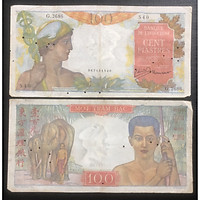 Tiền Đông Dương, giấy 100 Piastres  bạc quản tượng Indochine