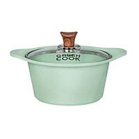 Nồi Đúc Ceramic Chống Dính Green-Cook GCS05-20IH Size 20cm Vân Đá Đáy Từ Nắp Kính Cường Lực Dùng Trên Mọi Loại Bếp-Hàng Chính Hãng