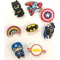 Combo 8 cái Sticker / Jibbitz, nút gắn dép sục, dép cá sấu, hình siêu anh hùng
