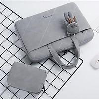 Túi xách da chống sốc cho máy tính, macbook, laptop màu hồng cute - Tặng kèm gấu bông và ví đựng phụ kiện