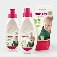Combo 2 Chai nước giặt xả Mamamy 800ml/chai an toàn cho bé và 1 Túi bổ sung cùng dung tích hương Bellis