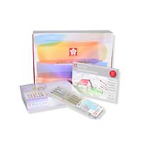 Màu nước nén Sakura Petit hộp 24 màu bản giới hạn đặc biệt kèm cọ vẽ water brush, pallete, giấy vẽ 20 tờ, set bút line viền XSDK 4P