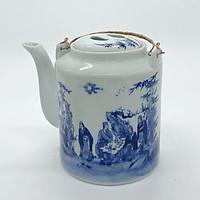 Ấm tích hãm trà xanh men trắng xanh - loại 1l