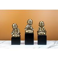 Bộ tượng trang trí ba chú tiểu màu đồng