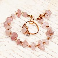 Bộ vòng nhẫn phong thủy đá Thạch Anh Hồng lựu đỏ đồng uốn đẹp cho nữ BVTD0001