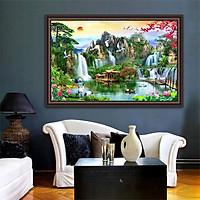 Tranh dán tường SƠN THỦY HỮU TÌNH in giấy ảnh với 2 lựa chọn bề mặt cán PVC gương hoặc cán bóng kính,Mã số: 00400633L12