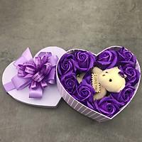 Quà tặng sinh nhật cho bạn gái - hoa hồng sáp hộp tim 1 gấu, màu tím - H16T
