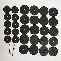 đá cắt mini cắt sắt cắt nhôm đồng dùng cho máy mài khắc (20 đá 32mm + 10 đá 24 + 2 trục gắn) - dĩa cắt sắt mini