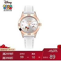 Disney Student Watch Female Korean Waterproof Simple Quartz Watch Cute Cartoon Luminous Pointer Child Watch Girl 327 Rose Gold Shell White Belt Mickey Mouse