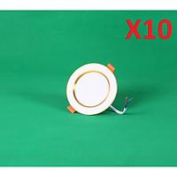 Bộ 10 đèn LED âm trần đổi màu 7w viền bạc/vàng, đèn trang trí giá rẻ hàng chính hãng