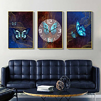 Tranh treo tường, tranh đồng hồ NT207 bộ 3 tấm ghép