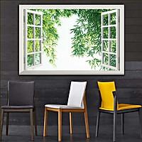 Bức tranh 3D dán tường cửa sổ PHONG CẢNH RỪNG CÂY 2 lựa chọn bề mặt cán PVC gương hoặc cán bóng, mã số: 00402168L11