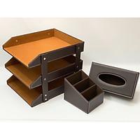 Bộ đồ dùng văn phòng : Khay tài liệu 3 tầng + hộp đựng giấy ăn + Hộc đựng bút