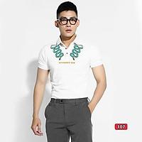 Áo thun nam cao cấp murad_fashion, áo phông nam màu trắng thêu hình rắn đẹp 2021 atn107