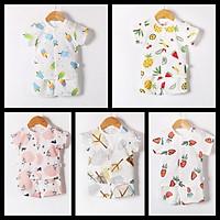 Set 5 bộ cotton 2 chiều cộc khuy kem cho bé trai và bé gái