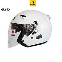 Nón bảo hiểm 3/4 KYT Venom có 2 kính chính hãng size M L XL trắng bóng