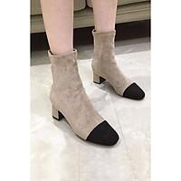 Giày Boot Nữ 5p Mũi Phối màu