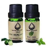 Bộ tinh dầu tạo cảm giác trong lành, mát mẻ, hưng phấn 10mlx2 (cam begamot, bạc hà) Ngọc Tuyết