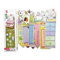 Hộp 30 Bookmark Đánh Dấu Sách Chú Mèo Học Vấn (Tặng Kèm Bookmark Nam Châm)