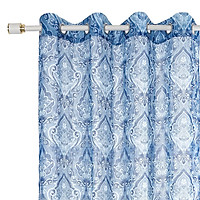 Flower Printed Curtain with Holes Window Drape Living Room Bedroom Decoration