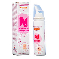 Nước muối xịt mũi Nebusal Spray Baby 1,9% giảm ngạt mũi, chảy nước mũi, viêm mũi dị ứng, vệ sinh mũi cho trẻ từ 3 tháng tuổi (50ml)