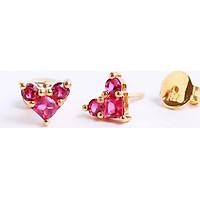Bông tai bằng bạc đẹp cao cấp nữ trái tim đá đỏ Gix Jewel BT01