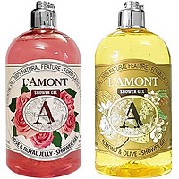 Combo Sữa Tắm L'amont En Provence Rose Shower Gel + Almond Shower Gel (500ml/chai)