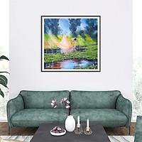Tranh canvas phong cách màu nước (watercolor) Cất vó - WT010