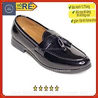 Giày lười nam da bóng chuông màu đen tăng chiều cao 3cm gea giày tây nam trẻ trung cao cấp da thật - Mã GEADLM01