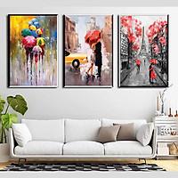 Bộ 3 tranh sơn dầu decor Paris - đôi tình nhân - DC008 - 50x75cmx3c