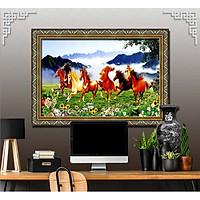 Bức tranh ngựa treo tường bát mã - MÃ ĐÁO THÀNH CÔNG chất liệu in vải lụa hoặc giấy ảnh bóng gương Mã số:L8F-00401591L8