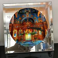 Đồng hồ thủy tinh vuông 20x20 in hình Cathedral - nhà thờ chính tòa (32) . Đồng hồ thủy tinh để bàn trang trí đẹp chủ đề tôn giáo
