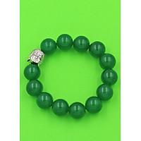 Vòng đeo tay Phật Như lai inox trắng - Chuỗi đeo tay đá thạch anh xanh lá 14 ly VTXLNLT14 - Chuỗi đeo tay đá phong thủy