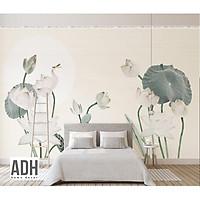 Tranh dán tường canvas hình hoa sen hiện đại ADHW010
